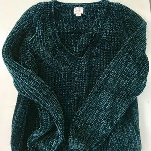 Super soft chenille green sweater